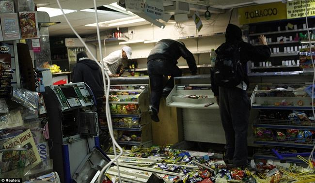 Stripped bareThe looters jumped over counters and threw food such crisps and sweets the floor order get the things they wanted